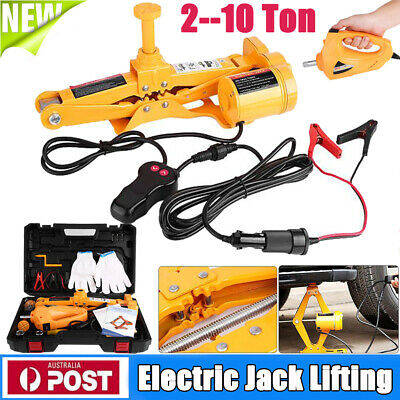 12V Auto Electric Jack Lifting Car SUV Emergency Equipment w/ Impact Wrench 3T