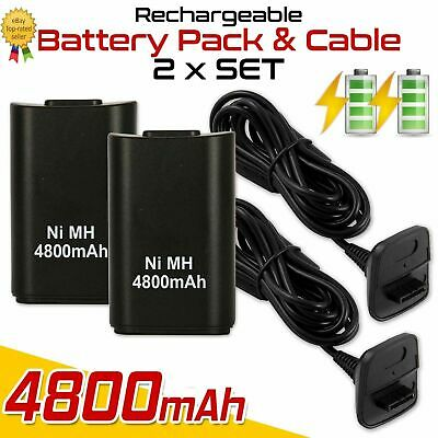 1/2 4800mAh Rechargeable Battery USB Charger Cable Pack for XBOX360 Controller