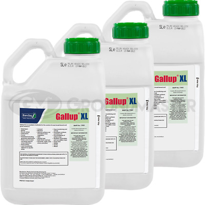 3 x 5L Gallup XL Very Strong Professional Glyphosate Weedkiller Kills Weed Roots