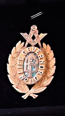 9ct Gold & Enamel Masonic Medal, Wyong Lodge,1932, Life Governor, CH Wilson