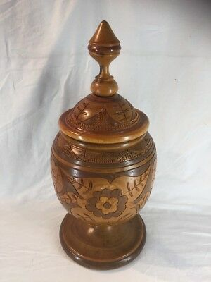 Very Large Carved Wooden Lidded Ginger Jar (ref G852)