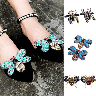 2018 Women Shoe Charms Rhinestones Butterfly Shoes Clips Shoe Decor Accessories