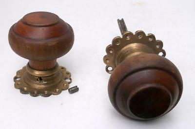 Pair of Vintage Antique Wood & Brass Door Knobs with Decorative Backplates