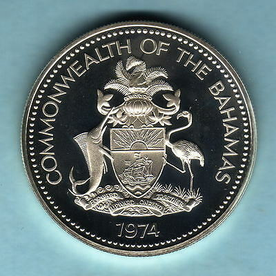 Bahamas. 1974 2 Dollars..  Silver Proof