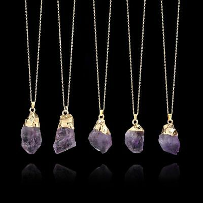 Point Healing Crystal Natural Stone Amethyst Pendant Long Chain Necklace