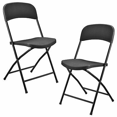 [casa.pro] 2x Camping Folding Chair Grey Banquet Folding Garden Chair Chairs