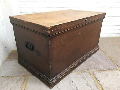 Original Victorian Scrubbled Painted & Waxed Pine Blanket Box / Storage Chest