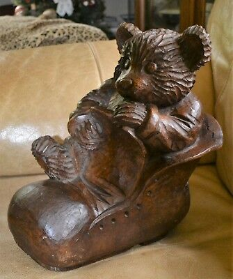 """Antique """"bear In A Boot"""" Solid Wood Carving, Large 17"""" Tall, Adorable!"""