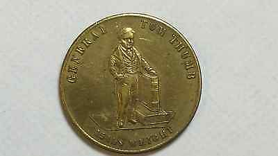 1846 General Tom Thumb Barnum Advertising Token AU/BU ATTRACTIVE