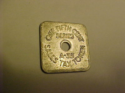One Fifth Cent Series Sales Tax Token A-35 / Colorado Sales Tax /state Treasurer