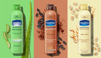 Vaseline Cocoa Radiant, Aloe Soothe, Essetial Healing Spray Lotion 190ml