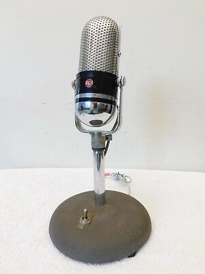 Vintage Old Mid Century Antique Classic Rca Pill Shape Chrome Microphone + Stand