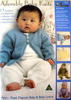 Panda Knitting Pattern Book - ADORABLE BABY KNITS - 12 Projects for Ages 1-6Mths