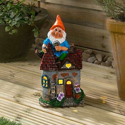 Solar Powered Gnome Fairy House LED Garden Light Outdoor Ornament Dwelling