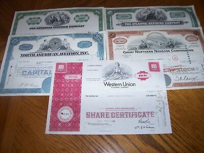Lot of 5 Different Stock Certificates.Nice Vignettes.L8