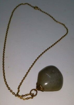 Vintage 1970s gold tone chain necklace with a large Agate stone pendant.