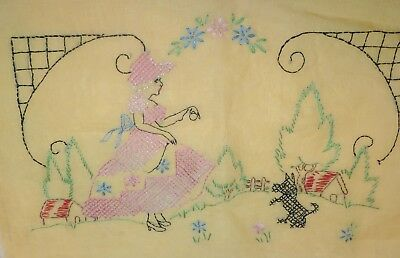 Vintage Art Deco Boudoir Pillowcase Embroidered Flapper Girl Scottie Dog Scene