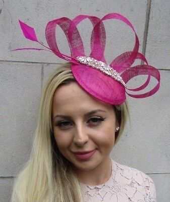 Fuchsia Hot Pink Rose Gold Feather Pillbox Hat Fascinator Races Hair Ascot 5846