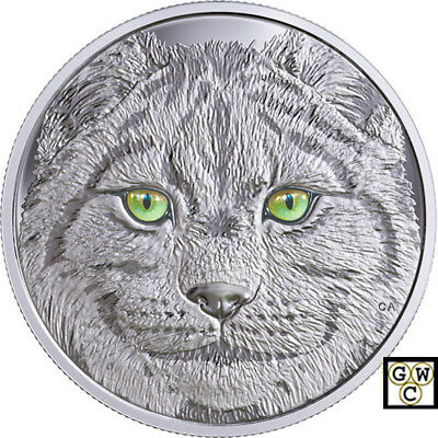 2017 'In The Eyes of The Lynx' Enameled Proof $15 Silver Coin .9999 Fine (18300)