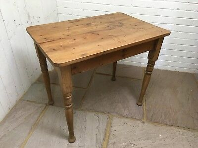 Small Vintage Waxed Pine Turned Leg Farmhouse Table 3ft X 2ft
