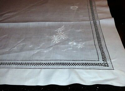 Antique Drawn Thread Work & Embroidery Linen Table Square Whitework