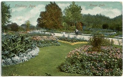 Old Rare Postcard Finsbury Park Flower Beds Used Dated 1906 (Ref: LA087)