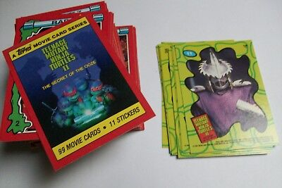 LOT 93 CARTES + 11 STICKERS TEENAGE MUTANT NINJA TURTLES II (tortues ninja)