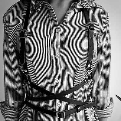 Women Bandage Harness Vest Belt Faux Leather Punk Waist Suspenders Belts