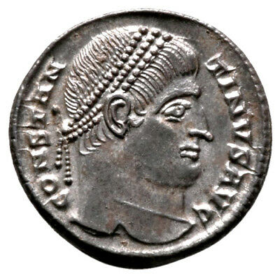 CONSTANTINE THE GREAT (328 AD) Silvered Follis. Nicomedia #IU 11223