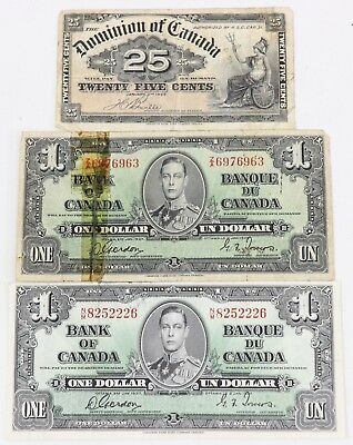1900 Dominon of Canada 25-Cents Note (2) 1937 Bank of Canada $1 Dollar Lot of 3
