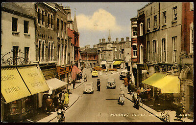 Old Rare Postcard Market Place Rugby Warwickshire Used Dated 1961 (Ref: AA095)
