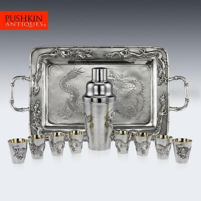 ANTIQUE 20thC CHINESE SOLID SILVER DRAGON COCKTAIL SET ON TRAY c.1910