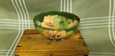 "Antique MOORCROFT Green Hibiscus 6 1/4"" wide Bowl. Beautiful!"