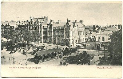 Old Rare Postcard London Square Southport Inc Trams Used Dated 1904 (Ref: LA109)