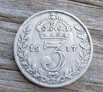 1917 Great Britain 3 Three Pence Silver Coin