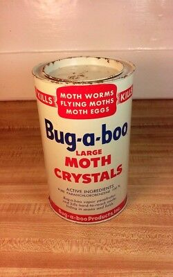 Vintage 1950's Bug-A-Boo Moth Crystals Can