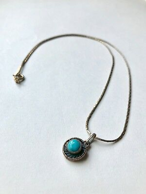 T. Benally Sterling Native American Navajo Turquoise Pendant Necklace
