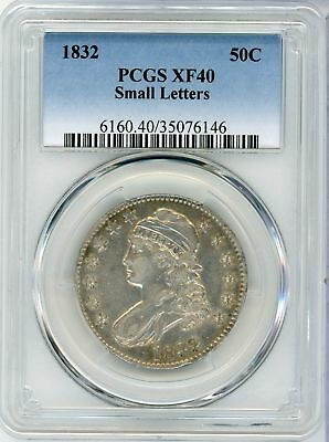 1832 Capped Bust Silver Half Dollar 50C Small Letters PCGS XF40 Certified CA026