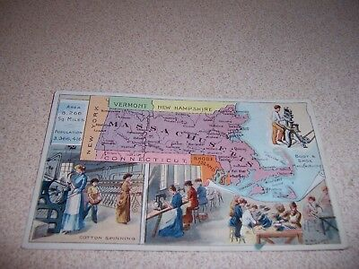 1910s ARBUCKLES COFFEE TRADE CARD - MASSACHUSETTS STATE MAP