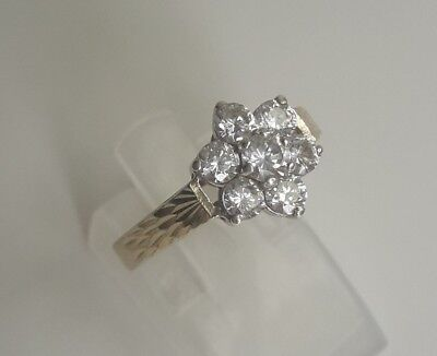 Vintage Gilt Solid Sterling Silver Flower Ring White Sapphire Stones - N 1/2