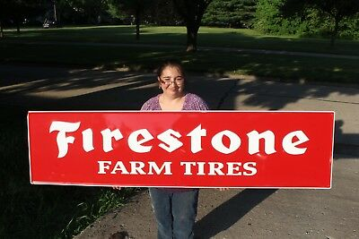 """Large Vintage Firestone Farm Tires Tractor Truck Gas Oil 72"""" Embossed Metal Sign"""