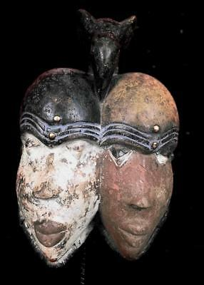 Old Tribal Tsogo 2 Headed Mask With Bird     --  Gabon
