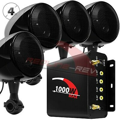 1000W Amp Waterproof Bluetooth Motorcycle Stereo 4-Speakers Audio System ATV UTV