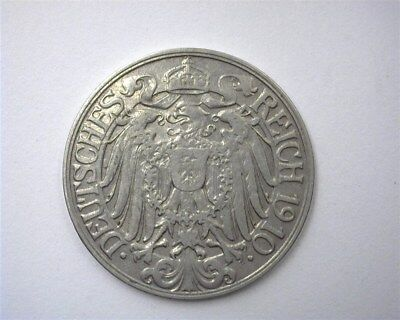 Germany 1910-D 25 Pfennig  Choice About Uncirculated