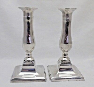 "Antique Pair Silver Plate Square Based Candlesticks 7"" Tall With Ejectors"
