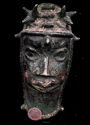 Old  Tribal Bronze Benin Head of Oba(King)      --edo,  Nigeria