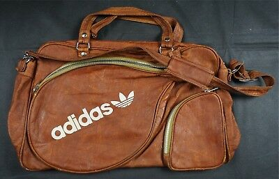 61f13f5728 Rare Vintage ADIDAS Spell Out Trefoil Leather Tennis Racket Gym Bag 70s  Brown