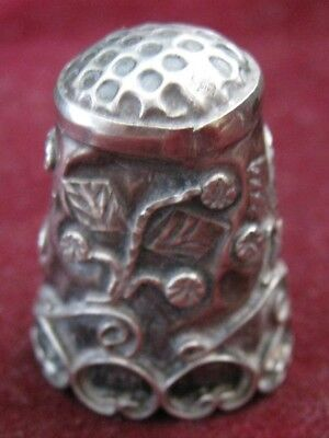 MEXICO 925 J?? Signed Iguala Style Sterling Thimble Leaves Flowers Scrolls 20mm