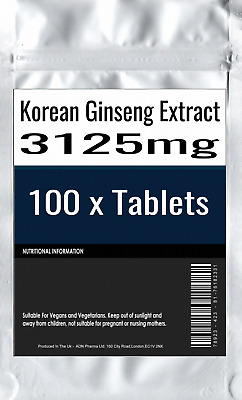 100 x Korean Ginseng panax 1300mg energy boost