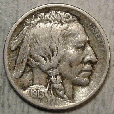 1913-S Type One Buffalo Nickel, Fine with 3/4 Horn, Popular Date   0523-01